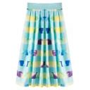 Colorful Striped High Waist Midi Skirt
