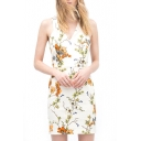 Floral Print V-Neck Sleeveless Fitted Dress