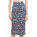 Print High Waist Back Split Pencil Skirt