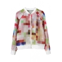 Colorful Print Long Sleeve Zip Fly Organza Jacket