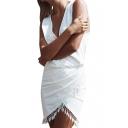 White V-Neck Sleeveless Wrap Dress with Tassel