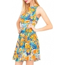 Summer Fresh Blossom Print A-line Sleeveless Dress
