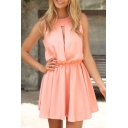 Pink Round Neck Sleeveless Gathered Waist Dress