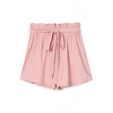 Striped Elastic Waist Belted Casual Shorts