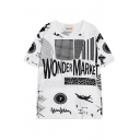 Letters Airplane Print Street Style Loose T-Shirt