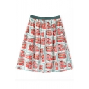 All Over Vintage Red Bus Print Midi Skirt