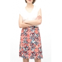 All Over Leaves Print A-line Midi Skirt