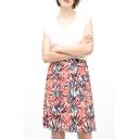 All Over Leaves Print A-line Midi Skirt