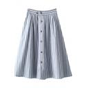High Waist Stripe Buttoned A-line Midi Skirt