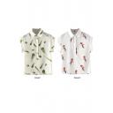 Birds&Feather Print Roll Cuff Sleeve Shirt