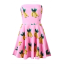 Banana Print Strapless Zip A-Line Dress