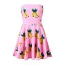 Banana Print Strapless Zip A-Line Dress