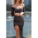 Off-the-Shoulder Sweetheart Neck Long Sleeve Lace Asymmetric Dress
