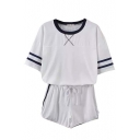 White Striped T-Shirt with Shorts Sports Co-ords