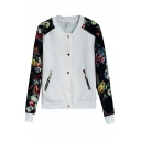 Stand Collar Floral Print Raglan Sleeve Button Fly Coat