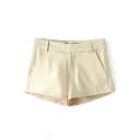 Beige Casual Cotton Shorts