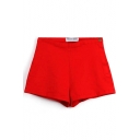 Red Plain Denim Hot Pants with High Rise