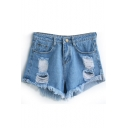 Light Blue Loose Ripped Cuffed Denim Shorts