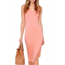 Pink Twisted Back Sleeveless Fitted Midi Dress with Side Split