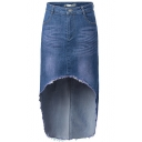Blue High Waist High Low Denim Skirt with Frayed Cuffs