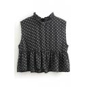 Black Polka Dot Sleeveless Stand Collar Ruffled Blouse