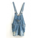 Blue Pocket Front Casual Loose Denim Overall Shorts