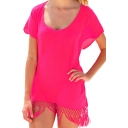 Red Sheer Scoop Short  Sleeve Cover Up with Tassel