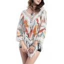 V-Neck 3/4 Sleeve Feather Print Tassel Loose Cover-Up