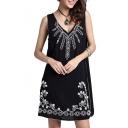Black Sleeveless Flora Embroidered Dress