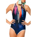 Navy Round Neck Sleeveless Zippered One Piece Swimwear