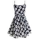 Black Floral Print Cami Short Dress