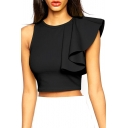 Black Cropped Zip Back Top with Ruffle Sleeve