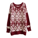 Vintage Geometrical Diamond Pattern Tunic Sweater with Raglan Sleeve