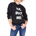White Letter Print Elastic Round Neck Long Sleeve Sweatshirt