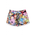 Adventure Time Theme Print Shorts with Drawstring Waist