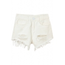 White Plain Rips Distressed Mid Waist Shorts