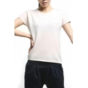Pure Apricot Round Neck Short Sleeve Knitted Sweater with Pocket
