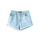Light Blue Embroidered Banana Cuffed Denim Shorts