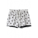 White Floral Print Drawstring Elastic Waist Lace Hem Shorts