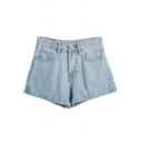 Sky Blue High Waist Denim Shorts