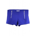 Royal Blue Double Zipper Hot Pants