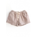 Apricot Gingham Drawstring Shorts