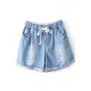 Light Blue Distressed Detail Dot Print Denim Shorts