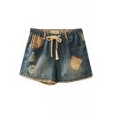 Mori Girl Distressed Appliques Blue Denim Shorts