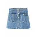 Blue High Waist Single Breast Pockets Denim Skirt