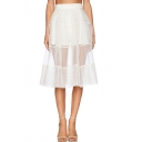 White High Waist A-line Mesh Panel Sheer Skirt