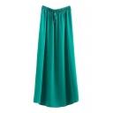 Green Elastic Waist Split Hem Max Skirt