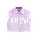 Purple Letter Print Lapel Sleeveless Crop Shirt