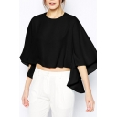 Black Round Neck Batwing Crop Asymmetrical Blouse