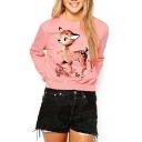 Pink Cartoon Deer Print Long Sleeve Sweatshirt